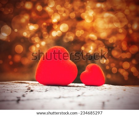 Two hearts and valentines day  - stock photo