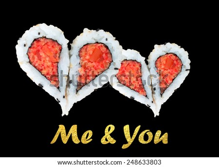 Two hearts forming from four pieces of sushi, love concept - stock photo