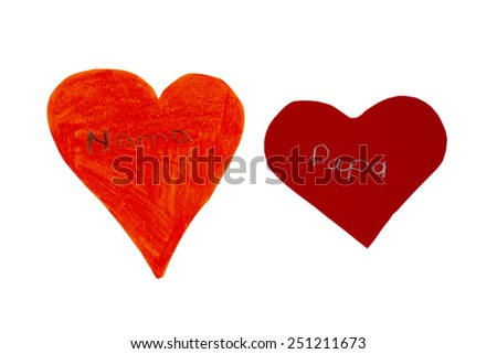 two hearts of paper - stock photo
