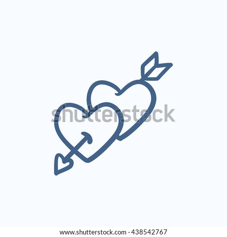 Two hearts pierced with arrow vector sketch icon isolated on background. Hand drawn Two hearts pierced with arrow icon. Two hearts pierced with arrow sketch icon for infographic, website or app. - stock photo
