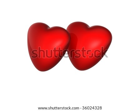 two hearts together - stock photo