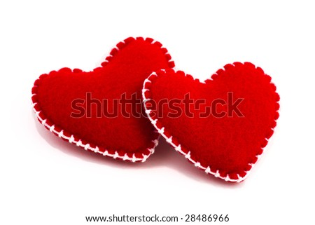 Two hearts together, isolated on white background - stock photo