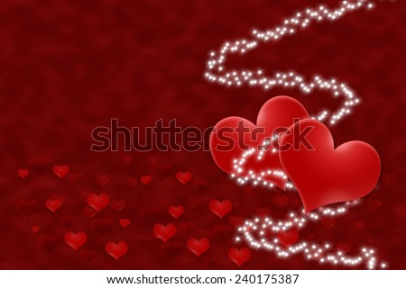 Two hearts with a white stars. The small red hearts are on the bottom of the image. Everything on a red background. - stock photo
