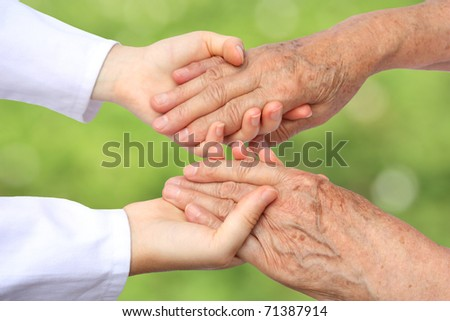 Two helping hand - stock photo