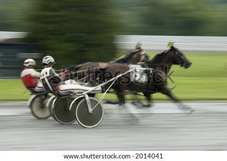 two horses coming to finish line fast action blur background - stock photo