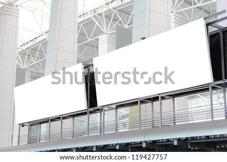 two huge Blank Billboard with empty copy space in airport, shot in china, Guangzhou airport - stock photo