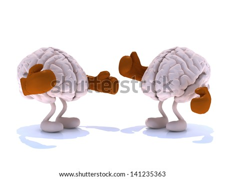 two human brain with boxing gloves in a fight, 3d illustration - stock photo
