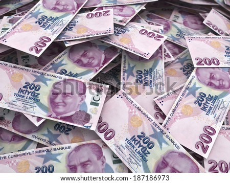 Two hundred tl stacks (depth of field) - stock photo