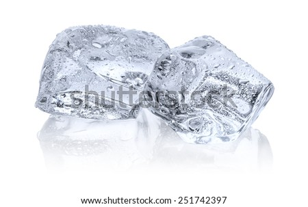Two ice cubes with reflection - stock photo