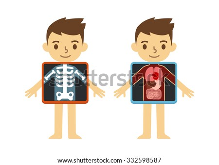 Two illustrations of cute cartoon boy with x-ray screen showing his internal organs and skeleton. Element of educational infographics for kids. - stock photo