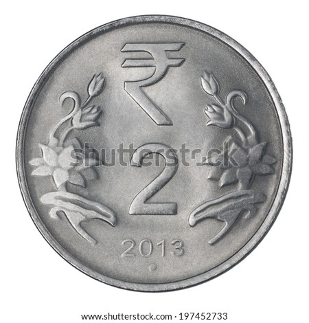 two Indian Rupee coin isolated on white background - stock photo