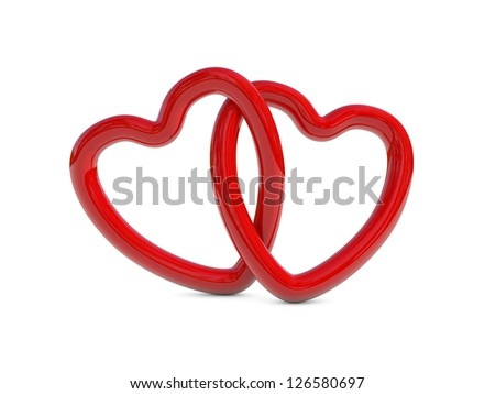 Two intertwined red heart rings (3D render) - stock photo