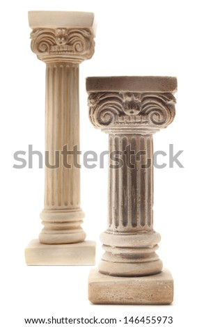 Two Ionic columns on white background - stock photo