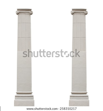 Two isolated architectural columns on a white background - stock photo