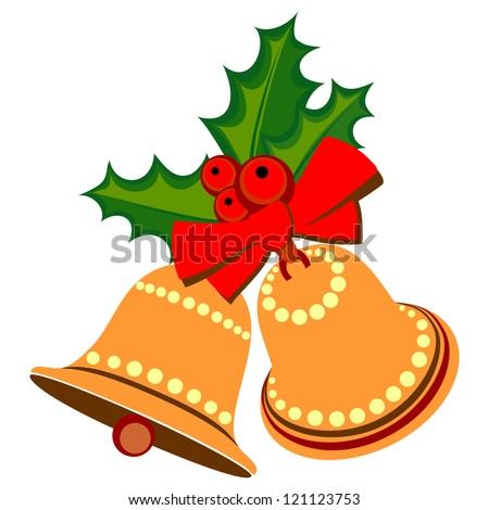Two Isolated Christmas Bells on White Background, Raster Version - stock photo