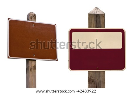 Two isolated signs with two clipping paths, over white. Standard sign you see in woods, parks or trails. Add any text to it. - stock photo