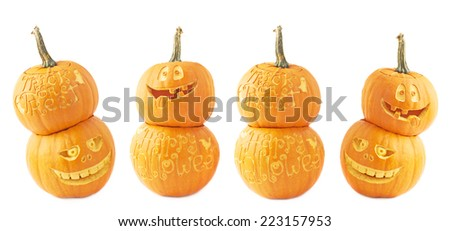 Two Jack-o'-lanterns  Halloween pumpkin head composition isolated over the white background, set of four foreshortenings - stock photo