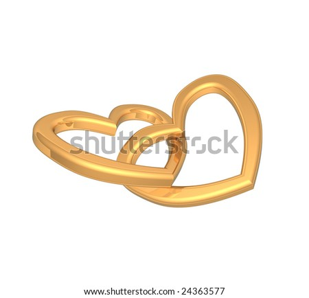 Two joined hearts of gold isolated on white - stock photo