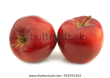 two jonagold apples on a white background - stock photo