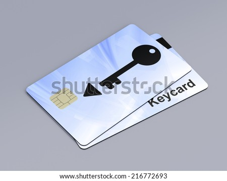 Two keycards on gray background - stock photo