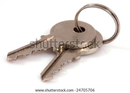 Two keys isolated on white background - stock photo