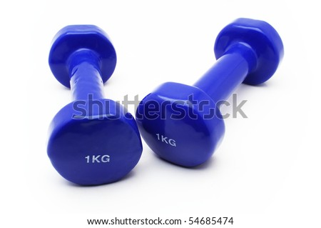 Two 1kg dumbbell over white background - stock photo