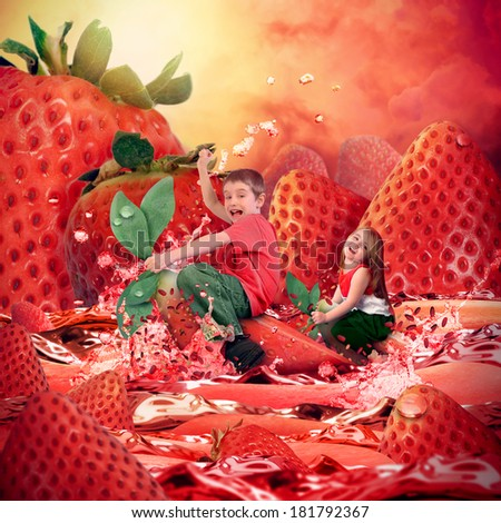 Two kids are riding strawberries on a red, wet, juicy river with a fruit landscape in the background. The children look happy for a health or diet concept.  - stock photo