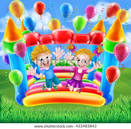 Two kids having fun jumping on a bouncy castle with balloons and streamers - stock photo