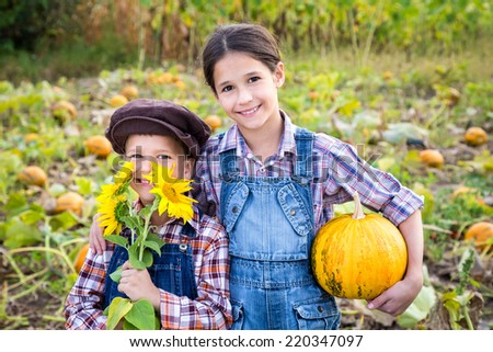 Two kids standing with pumpkin on vegetable garden - stock photo