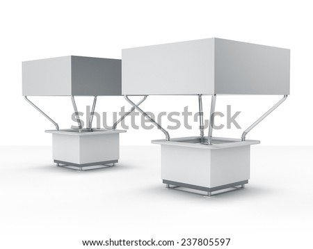 two kiosks or booths for customizing. View from  - stock photo