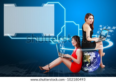 Two lady connected to folder icon : Elements of this image furnished by NASA - stock photo