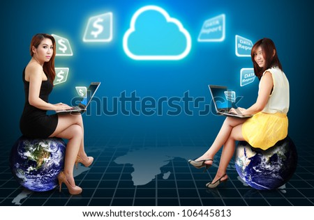 Two lady on globe get the Cloud computing service : Elements of this image furnished by NASA - stock photo