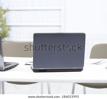 Two laptop in the office. - stock photo