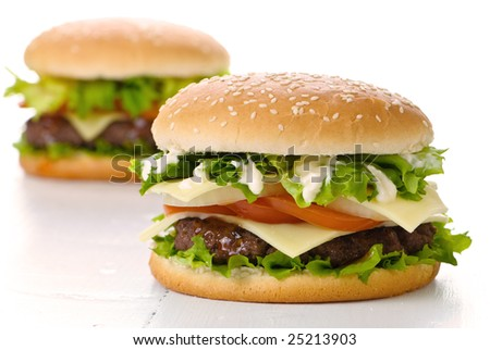 Two large burgers on a white background - stock photo