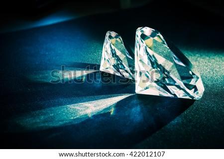 Two Large Diamonds. Diamond Jewelry Theme. - stock photo