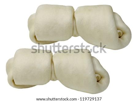 Two large rawhide dog chew bones isolated on white - stock photo