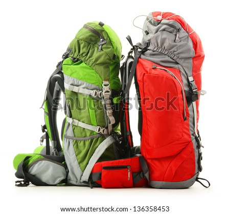 Two large touristic backpacks isolated on white - stock photo