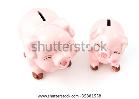Two laughing pink piggy bank isolated on white background - stock photo