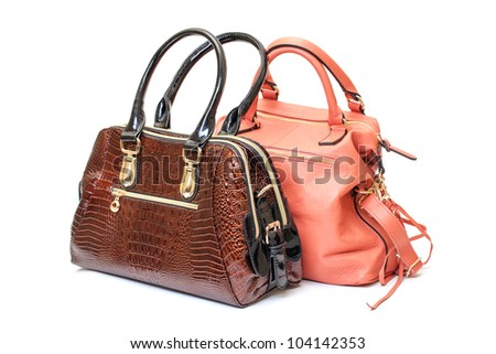 Two Leather Ladies Handbag on white background - stock photo