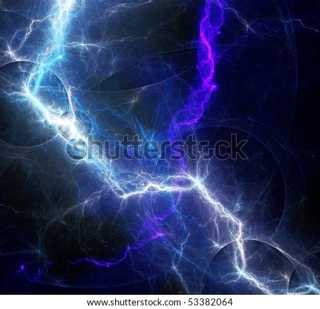 two lightnings - stock photo