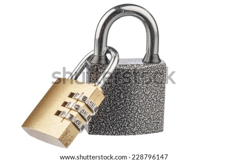 Two linked padlocks with reflections on a white background - stock photo