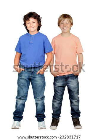 Two little boys isolated on a white background - stock photo