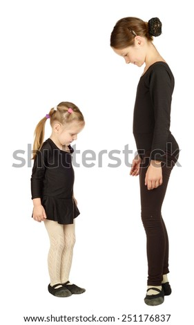 Two Little Girl dancer isolated on White Background  - stock photo