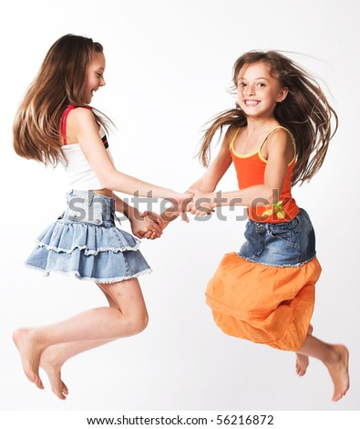 two little girls - stock photo