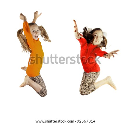 two little girls played - stock photo