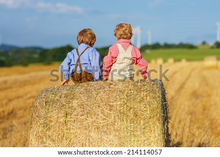 Two little sibling boys and friends sitting on hay stack or bale and speaking on yellow wheat field in summer - stock photo