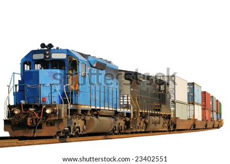 Two locomotives pulling a train of container cars, isolated on white - stock photo