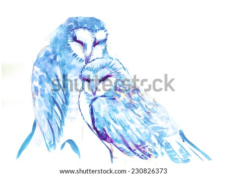Two lovely blue owls, illustration - stock photo