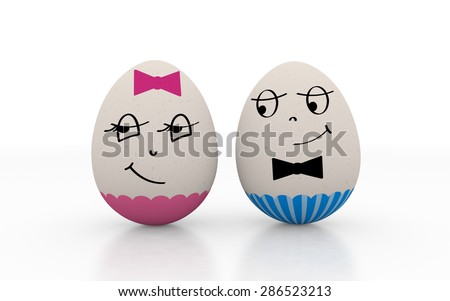 Two lovers easter eggs male and female isolated on white background. Boy looks at a confused shy girl - stock photo