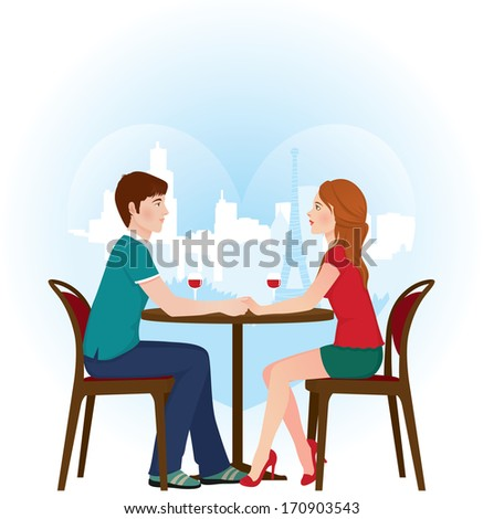 Two lovers sitting at a table in a cafe on the background of the Eiffel Tower/Lovers in Paris cafe/Illustration of a loving couple on a date in the cafe - stock photo